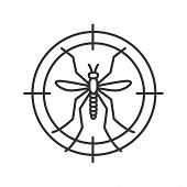Mosquitoes target linear icon. Anti-insect repellent. Thin line illustration. Contour symbol. Vector isolated outline drawing poster