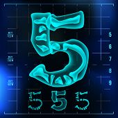 5 Number Vector. Five Roentgen X-ray Font Light Sign. Medical Radiology Neon Scan Effect. Alphabet. 3D Blue Light Digit With Bone. Medical, Pirate, Futuristic Style. Illustration poster