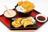 Japanese food style rice with fried chicken and Fried Dumplings poster