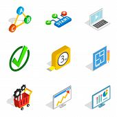 Firm contractor icons set. Isometric set of 9 firm contractor vector icons for web isolated on white background poster