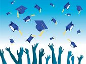 vector illustrating hands throwing graduation hats on air poster