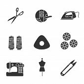 Tailoring glyph icons set. Fabric scissors, bobbin case, steam iron, thread spool, chalk, sewing machine, mannequin, clippers. Silhouette symbols. Vector isolated illustration poster