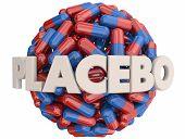 Placebo Medicine Pills Psychological Fake Treatment 3d Illustration poster