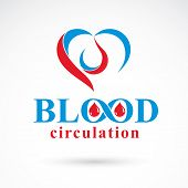 Vector illustration of heart shape. Blood circulation concept, charity and volunteer conceptual logo for use in medical care advertisement. poster