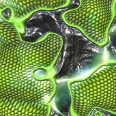 Computer generated illustration of closeup of green reptile skin poster
