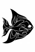 single line fish symbol in tribal style poster