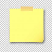 Empty yellow post note paper sheet sticker. Vector post office memo or remember yellow notepaper sticky with shadow isolated on a transparent background poster