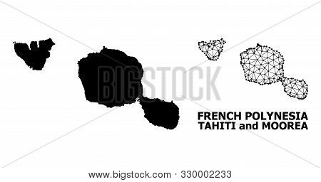 Solid And Mesh Vector Map Of Tahiti And Moorea Islands. Linear Carcass Flat Polygonal Mesh In Vector