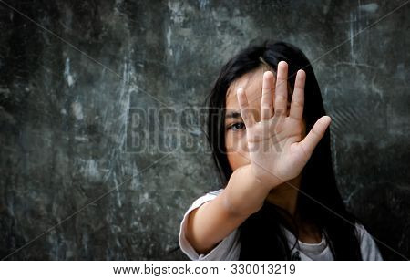 Human trafficking and slavery concept. Stop human abuse. Stop child abusing. Human is not a product poster