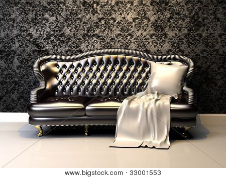 Leather sofa in interior with decoration wallpaper poster