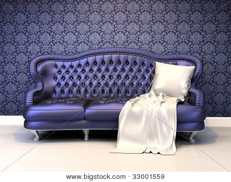 Luxurious leather sofa with covering in interior with ornament wallpaper poster