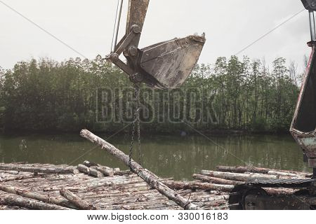Excavator Or Digging Machine Working Bucket Digging Ground In Canal The Process Of Construction Site