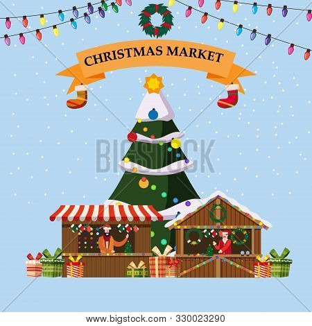 Christmas Souvenirs Market Stalls With Decorations And Gifts. Big Christmas Tree Xmas Shops With Gar