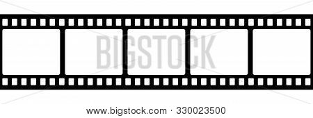 Film Strip Isolated Vector Icon. Retro Picture With Film Strip Icon. Film Strip Roll. Video Tape Pho
