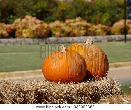 Two Orange Pumpkins On Top Of Hay Bales At A Farmer's Market