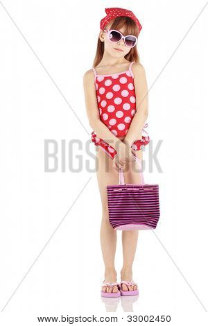 Summer fashion girl wearing red spotted swimsuit studio series