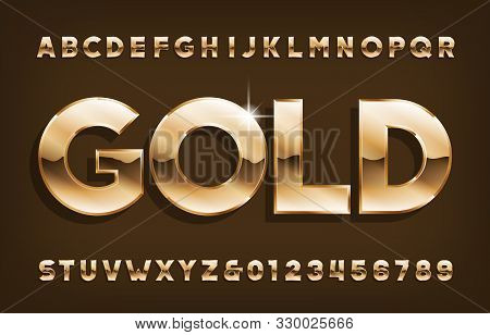 Gold Alphabet Font. Shining Golden Letters And Numbers With Shadow. Stock Vector Typescript For Your