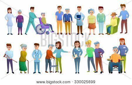 Caregiver Icons Set. Cartoon Set Of Caregiver Vector Icons For Web Design