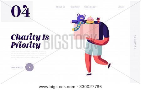 Man Carry Box With Kids Toys For Donating Website Landing Page. Charity Organization Help Children I