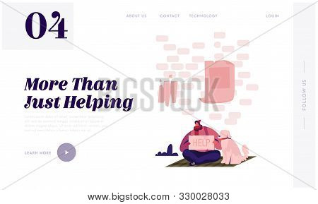 Homeless Unemployed Man Asking Support in Trouble Situation Website Landing Page. Bum with Dog Sitting on Ground on Street Holding Banner Need Help Web Page Banner. Cartoon Flat Vector Illustration poster