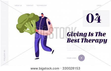 Food Donation Website Landing Page. Worker Of Charity Organization Volunteer Or Selfless Person Brin