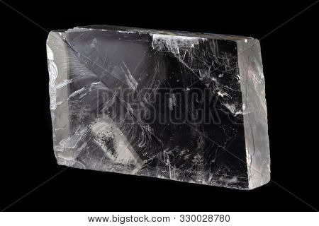 Iceland Spar (also Known As Transparent Calcite) Mineral From Mexico, Isolated On A Pure Black Backg
