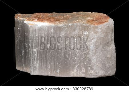 Selenite (or Satin Spar) Mineral From Spain Isolated On A Pure Black Background