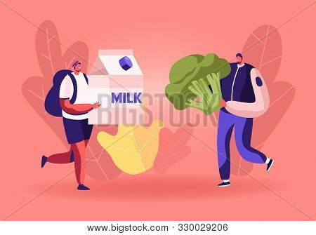 Male Characters Carry Huge Milk Box And Broccoli For Collecting Donation Box. Altruistic Behavior, T