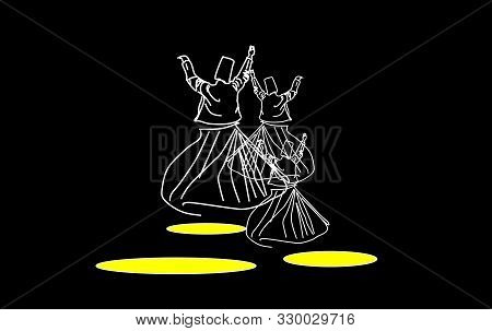 The transformation into a single. Whirling dervishes.  Whirling motion as a single mechanism.Sufi religious dance. Illustration, background. poster