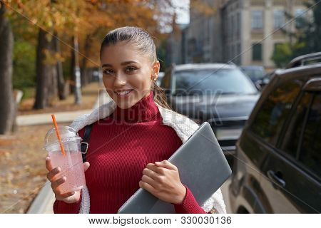 Successful Woman Going Home After Her Lection