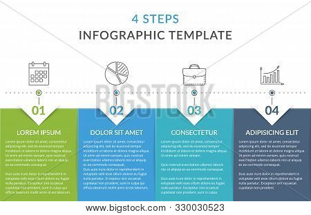 Infographic Template With 4 Steps Or Options, Workflow, Process Chart, Vector Eps10 Illustration
