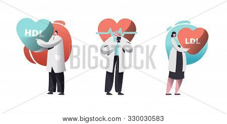 Cardio Healthcare Set With Male And Female Cardiology Doctors Checking Patient Pulse Heart Rate Or H