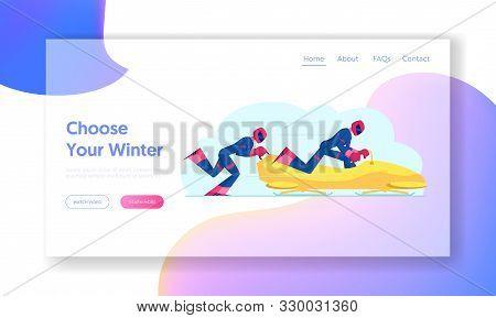 Wintertime Sledding Sport Website Landing Page. Sportsmen Bobsleigh Team Pushing Bob And Sliding Dow