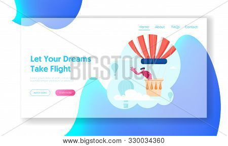 Tourist Flying On Air Balloon Website Landing Page. Young Man Having Trip By Aerostat Soaring In Clo