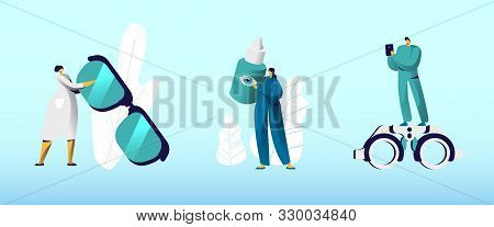 Ophthalmologist Doctors With Professional Equipment Set. Eyesight Check Up For Eyeglasses Diopter. O