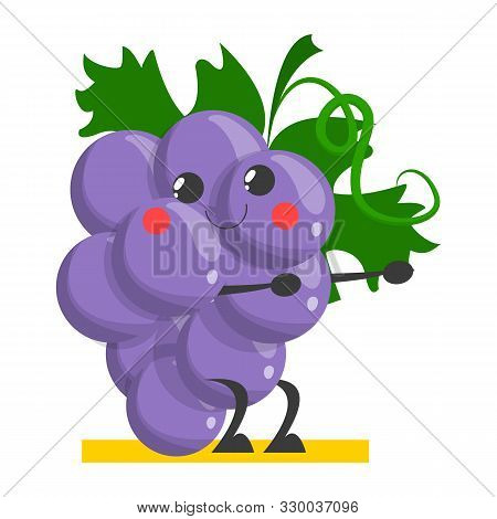 Grape Funny Character Training In The Gym Vector Isolated.
