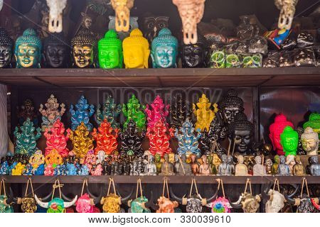 Typical Souvenir Shop Selling Souvenirs And Handicrafts Of Bali At The Famous Ubud Market, Indonesia