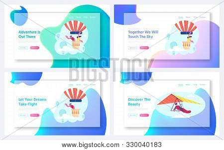 Love Story Adventure, Hang Gliding Recreation Website Landing Page Set. Couple Flying On Air Balloon
