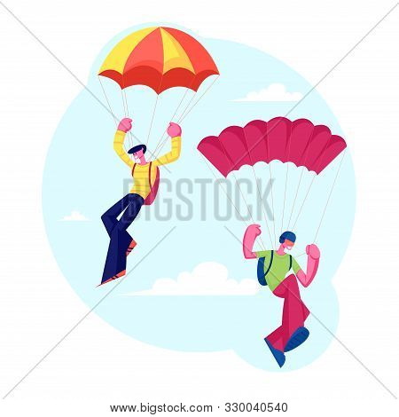 Skydiver Characters Jumping With Parachute Soaring In Sky. Skydiving Parachuting Sport. Couple Of Pa