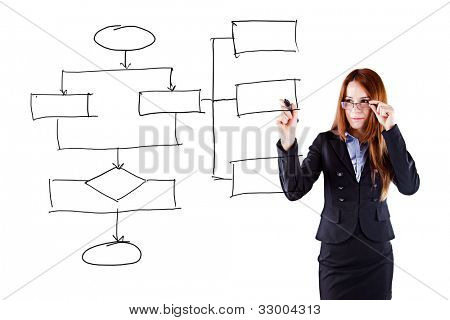 young beautiful  business woman drawing a schematic business plan