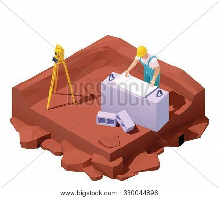 Vector Isometric Surveyor Engineer On Geodetic Works With Optical Level Equipment. Geodesist With Th