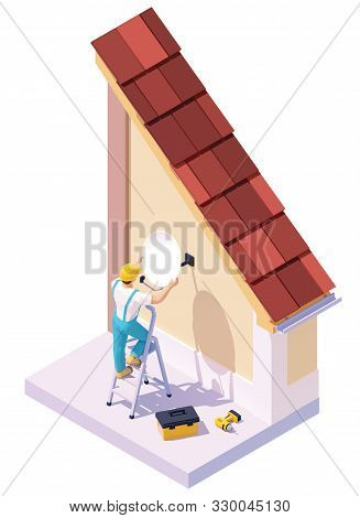 Vector Isometric Man On Ladder Installing Satellite Dish On The Building Wall. Technician Holding Tv