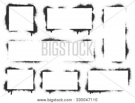 Spray Paint Graffiti Stencil Frames. Black Airbrushing Paint Banner, Stenciling Backdrop And Spray P