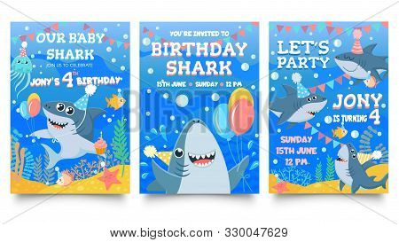 Invitation Card With Cute Sharks. Baby Shark Birthday Party, Sharks Family Celebrate Children Birthd