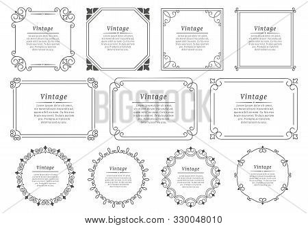 Royal Hand Drawn Text Frame. Retro Elegant Graphic Frame, Vintage Ornamental Border And Decorative B