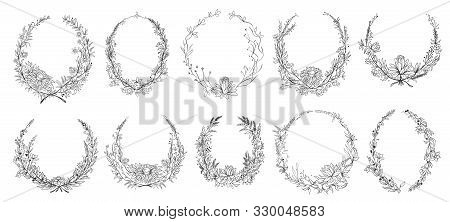 Hand Drawn Round Floral Frames. Sketch Flower, Leaves And Branches Decoration Wreath. Circle Flower