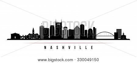 Nashville Skyline Horizontal Banner. Black And White Silhouette Of Nashville, Tennessee. Vector Temp