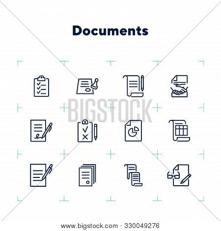 Documents Line Icon Set. Set Of Line Icons On White Background. Office Concept. Contract, Report, Cl