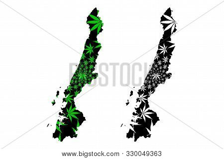 Ranong Province (kingdom Of Thailand, Siam, Provinces Of Thailand) Map Is Designed Cannabis Leaf Gre