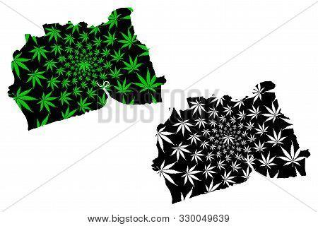 Samut Sakhon Province (kingdom Of Thailand, Siam, Provinces Of Thailand) Map Is Designed Cannabis Le